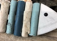 Blue Turquoise and White Weathered Hanging Fish Wall Art